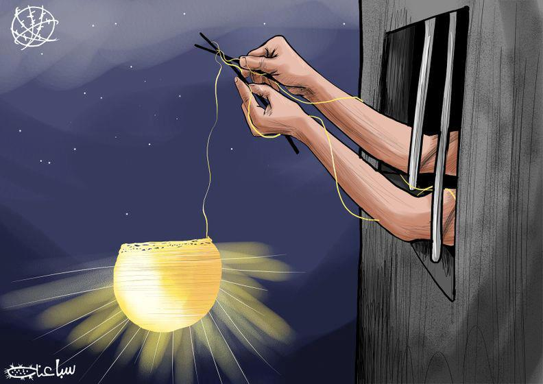 One of Mohammad Sabaaneh's cartoons in support of Palestinian prisoners, holding the light of freedom