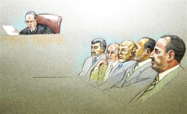 In this courtroom illustration, U.S. District Judge A. Joe Fish and defendants Mufid Abdulqader, Ghassan Elashi, Mohammad El-Mezain, Shukri Abu Baker and Abdulrahman Odeh are shown during the Holy Land Foundation terrorism financing trial at the federal courthouse in Dallas, Monday, Oct. 22, 2007. (AP Photo/Pat Lopez)